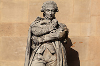 Statue of Antoine Lavoisier, chemist, 1743-94, by Jacques-Leonard Maillet in the Beauvais Rotonde, in the Cour Napoleon at the Musee du Louvre, Paris, France. A series of 86 statues of famous men were placed in this courtyard 1853-57 under the architects Louis Visconti and Hector Lefuel. Picture by Manuel Cohen