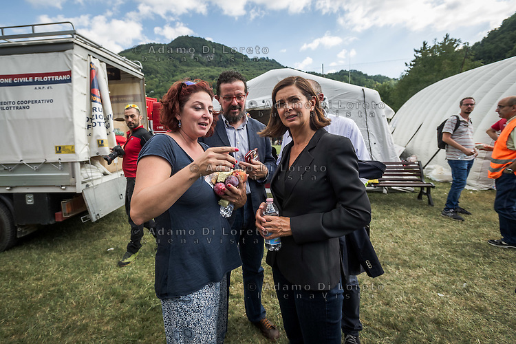 Laura Boldrini arriva a Borgo d'Arquata (AP) - Earthquake -  Terremoto Ascoli Piceno on August 24, 2016, in Marche, Italy. Photo by Adamo Di Loreto