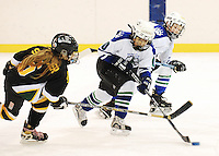 Madison Polarcaps' Schuyler Hedican tries to skate away from Green Bay Bobcats' Kaitlyn Spencer, as Wisconsin mite hockey players compete in the 2008 Badger State Winter Games on Friday in Merrill, Wisconsin