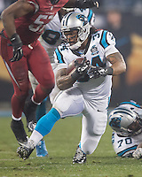 Charlotte, North Carolina - January 3, 2015: The Carolina Panthers beat the Arizona Cardinals 27-16 in an NFC wild card playoff game at Bank of America Stadium.