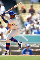 4 May 2011:#12 Alfonso Soriano at bat.  The Cubs defeated the Dodgers 5-1 during a Major League Baseball game at Dodger Stadium in Los Angeles, California.  Dodgers players are wearing Brooklyn Dodger 1940's throwback jersey uniforms and the Chicago Cubs are also wearing throwback retro jersey uniforms. **Editorial Use Only**