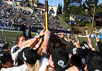 SAN DIEGO, CA - DECEMBER 02, 2012:  Players of the University of North Carolina with the winners trophy against  Penn State University during the NCAA 2012 women's college championship match, at Torero Stadium, in San Diego, CA, on Sunday, December 02 2012. Carolina won 4-1.
