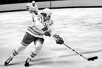 Seals Larry Patey against the LA Kings 1975.<br />(photo/Ron Riesterer)