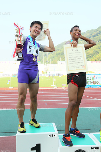 (L to R) Kenta Oshima,  Abdul Hakim Sani Brown, JULY 30, 2015 - Athletics : 2015 All-Japan Inter High School Championships, Men's 100m Award Ceremony at Kimiidera Athletic Stadium, Wakayama, Japan. (Photo by YUTAKA/AFLO SPORT)