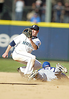 04 October 2009: Seattle Mariners shortstop #16 Josh Wilson sets up to lay the tag on Texas Rangers base runner #29 Julio Borbon. Borbon was called out on the attempted steal. Seattle won 4-3 over the Texas Rangers at Safeco Field in Seattle, Washington.