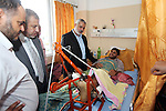 Palestinian Prime Minister in Gaza strip Ismail Haniyeh visits injured by Israeli airstrikes on Gaza strip at al-Shifa hospital in Gaza on Oct. 31, 2012. Israeli airstrikes killed many Palestinians and wounded others during this month in response to the incessant firing of rockets from Gaza into Israel. Photo by Ahmed Shaat