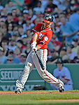 9 June 2012: Washington Nationals first baseman Adam LaRoche connects against the Boston Red Sox at Fenway Park in Boston, MA. The Nationals defeated the Red Sox 4-2 in the second game of their 3-game series. Mandatory Credit: Ed Wolfstein Photo