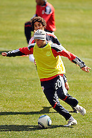 Joel Lindpere (20) of the New York Red Bulls plays the ball during practice on Media Day at Red Bull Arena in Harrison, NJ, on March 15, 2011.