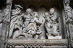 16th century Choir screen and ambulatory of the Gothic Cathedral of Chartres, France. Depicting the Three Wise Men visiting the Baby Jesus Christ and Mary. A UNESCO World Heritage Site.