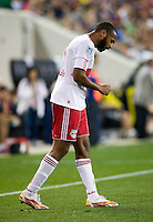 Thierry Henry (14) of the New York Red Bulls reacts to a referee's call during the game at Red Bull Arena in Harrison, NJ.  The New York Red Bulls tied the Columbus Crew, 1-1.
