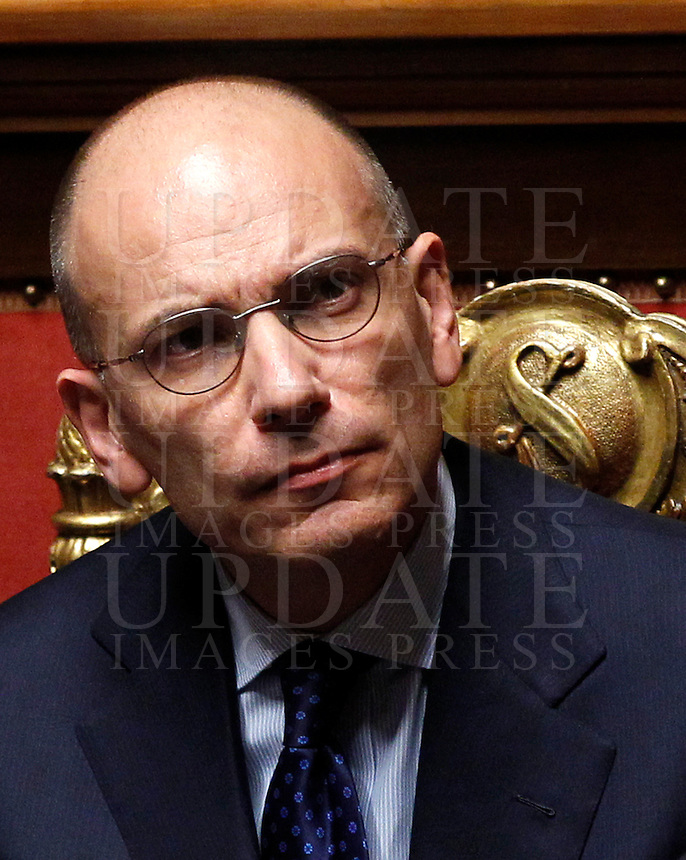 Il Presidente del Consiglio Enrico Letta al Senato, Roma, 5 novembre 2013.<br /> Italian Premier Enrico Letta during a plenary session at the Senate, Rome, 5 November 2013.<br /> UPDATE IMAGES PRESS/Isabella Bonotto