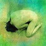 The back of an an anonymous nude woman bowing into the ground with spiral pattern. Photo based illustration.