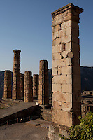 DELPHI, GREECE - APRIL 11 : A general view of the pedestal of the statue of King Prusias II of Bithynia with the Temple of Apollo in the background, on April 11, 2007 in the Sanctuary of Apollo, Delphi, Greece. The pedestal dates 2nd century BC and was holding an equestrian statue of King Prusias II of Bithynia. The ruins of the Temple of Apollo belong to the 4th century BC, the third temple built on the site and completed in 330BC. (Photo by Manuel Cohen)
