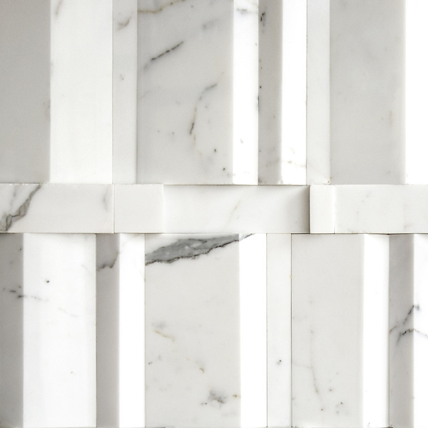 Città, a stone mosaic from the Dimensioni Collection, shown in polished Calacatta, is part of The Studio Line and ready to ship in 48 hours.