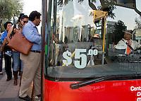 Metrobus publica transportation in the Centro Historico of Mexico City.