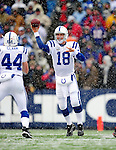3 January 2010: Indianapolis Colts' quarterback Peyton Manning (18) completes a pass to tight end Dallas Clark (44) during a game against the Buffalo Bills on a cold, snowy, final game of the season at Ralph Wilson Stadium in Orchard Park, New York. The Bills defeated the Colts 30-7. Mandatory Credit: Ed Wolfstein Photo