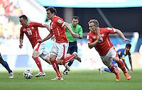 FUSSBALL WM 2014  VORRUNDE    Gruppe D     Schweiz - Ecuador                      15.06.2014 Zug nach vorn: Josip Drmic, Admir Mehmedi und Xherdan Shaqiri (v.l., alle Schweiz)