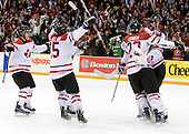 Gabriel Bourque (Canada - 7), Brandon McMillan (Canada - 15), Jared Cowen (Canada - 22), Jake Allen (Canada - 1) - Team Canada defeated Team USA 5-4 (SO) on Thursday, December 31, 2009, at the Credit Union Centre in Saskatoon, Saskatchewan, during the 2010 World Juniors tournament.