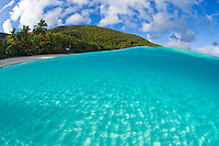 Split level view of Trunk Bay.Virgin Islands National Park.St. John.U.s. Virgin Islands