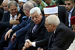 Palestinian president Mahmoud Abbas attends pray to mark the first day of Eid al-Adha, or feast of the sacrifice, at his headquarter in the West Bank city of Ramallah, on Sep. 12, 2016. Muslims around the world are celebrating Eid al-Adha, the Festival of Sacrifice, to mark the end of the hajj pilgrimage by slaughtering sheep, goats, cows and camels to commemorate Prophet Abraham's readiness to sacrifice his son Ismail on God's command. Photo by Shadi Hatem