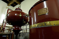 Calvados still. Sata Souji Shoten Shochu Distillery, Minami Kyushu, Kagoshima Pref, Japan, December 20, 2016. The Sata Souji Shoten Shochu Distillery makes shochu spirits from local sweet potatoes. In recent years the distillery has imported grappa, brandy, calvados stills from Europe to experiment with new distilling techniques. They have attracted considerable attention from the media and other distillers as leading innovators in their industry.
