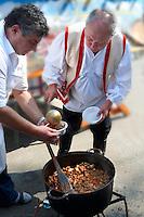 Birka porkolt ( Beef Porkolt) from Karcag. Paprika food festival. Kalocsa, Hungary
