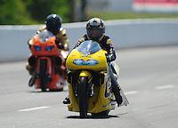 May 5, 2012; Commerce, GA, USA: NHRA pro stock motorcycle rider Karen Stoffer during qualifying for the Southern Nationals at Atlanta Dragway. Mandatory Credit: Mark J. Rebilas-