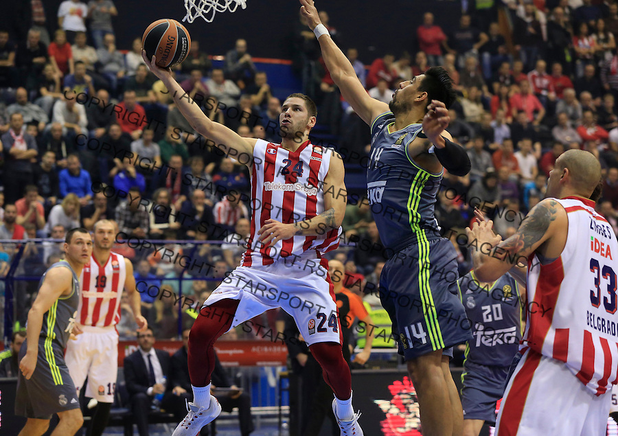 Kosarka Euroleague season 2015-2016<br /> Euroleague <br /> Crvena Zvezda v Real Madrid<br /> Stefan Jovic and Gustavo Ayon (R)<br /> Beograd, 27.11.2015.<br /> foto: Srdjan Stevanovic/Starsportphoto &copy;