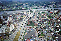 Albany: View from Tower looking southeast towards river, freeway & new arena. They hope to get an NBA franchise. Photo '88.