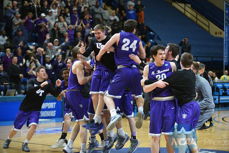 19 MAR 2016:  19 MAR 2016: Division III Men's Basketball Championship held at Salem Civic Center in Salem, VA.  University of St. Thomas won the championship 82-76.  Andres Alonso/NCAA Photos