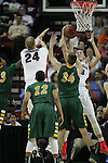 Gonzaga's Kyle Wiltjer (33) attempts an underneath the basket lay in while being guarded by North Dakota State's Chris Kading (34) during the 2015 NCAA Division I Men's Basketball Championship's March 20, 2015 at the Key Arena in Seattle, Washington.   ©2015. Jim Bryant Photo. ALL RIGHTS RESERVED.