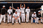 High school baseball doubleheader Vale vs Nyssa. (L ro R: Coach Stefan Maupin, Branden Holloway, Cory Erstrom, Austin Tolman, Derrek Rodriguez, Josh Morcom, Ryan Tucke and Luke Tackman) on April 15, 2011 at Nyssa High School, Nyssa, Oregon.