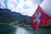 Crusing Lake Lucerne, leaving Hergiswil docks