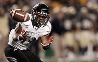 PITTSBURGH, PA - NOVEMBER 05:  Ralph Abernathy #19 of the Cincinnati Bearcats bobbles the ball on a kickoff against the Pittsburgh Panthers on November 5, 2011 at Heinz Field in Pittsburgh, Pennsylvania.  (Photo by Jared Wickerham/Getty Images)