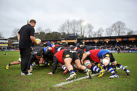 The Bath Rugby forwards practise their scrummaging during the pre-match warm-up. Aviva Premiership match, between Bath Rugby and Wasps on February 20, 2016 at the Recreation Ground in Bath, England. Photo by: Patrick Khachfe / Onside Images