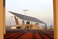 Photovoltaic Plant (10,500 square meters capturing solar energy for the electric public utility system) in the distance, Forum Esplanade, Barcelona, Catalonia, Spain; 2004; José Antonio Martinez Lapeña (Tarragona, Spain, 1941) and Elías Torres Tur (Ibiza, Spain, 1944); Finalist of the European Union prize for Contemporary Architecture - 2005 Mies Van der Rohe Prize Picture by Manuel Cohen