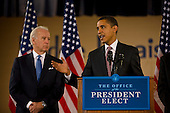 Chicago, Il - December 16, 2008 -- United States President-elect Barack Obama, right, announces the nomination of Chicago School Chief Arne Duncan, (not pictured), to be his Secretary of Education at a news conference at Dodge Renaissance Academy on Chicago's West Side on Tuesday, December 16, 2008.  Vice President-elect Joseph Biden stands at left..Credit: Ralf-Finn Hestoft - Pool via CNP
