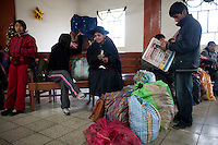 Passengers wait for the 6:30 a.m. departure at Chilca Station in Huancayo. Huancayo is located 3,200 meters above sea level in the central highlands of Peru.