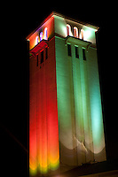 St. Peter & Paul Catholic Church Bell Tower at night with Christmas lights, Waimea Bay, North Shore, O'ahu.