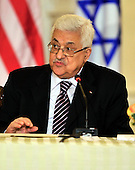 "President Mahmoud Abbas of the Palestinian Authority makes remarks at the event hosted by United States Secretary of State Hillary Rodham Clinton entitled the ""Relaunch of Direct Negotiations Between the Israelis and Palestinians"" in the Benjamin Franklin Room of the U.S. Department of State on Thursday, September 2, 2010.  .Credit: Ron Sachs / CNP.(RESTRICTION: NO New York or New Jersey Newspapers or newspapers within a 75 mile radius of New York City)"