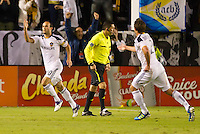 CARSON, CA - November 6, 2011: LA Galaxy midfielder Landon Donovan (10) celebrates his goal during the match between LA Galaxy and Real Salt Lake at the Home Depot Center in Carson, California. Final score LA Galaxy 3, Real Salt Lake 1.