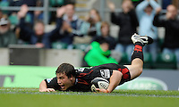 Twickenham, GREAT BRITAIN,  Sarries, Adam POWELL, touches down in the second half, during the Guinness Premiership match,  Saracens vs Harlequins, at Twickenham Stadium, Surrey on Sat 06.09.2008. [Photo, Peter Spurrier/Intersport-images]