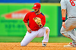 7 March 2012: Washington Nationals infielder Jarrett Hoffpauir in action against the St. Louis Cardinals at Space Coast Stadium in Viera, Florida. The teams battled to a 3-3 tie in Grapefruit League Spring Training action. Mandatory Credit: Ed Wolfstein Photo