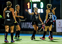 Blacksticks players celebrate a goal during the international hockey match between the Blacksticks Women and India, Rosa Birch Park, Pukekohe, New Zealand. Tuesday 16  May 2017. Photo:Simon Watts / www.bwmedia.co.nz