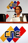 La presidenta del Consejo Nacional Electoral de Venezuela (CNE), Tibisay Lucena habla durante una conferencia de prensa hoy, 3 de diciembre de 2007, en Caracas, en la que inform&oacute; que m&aacute;s del 50 por ciento de los venezolanos se pronunci&oacute; en contra de la reforma constitucional propuesta por el presidente Hugo Ch&aacute;vez. (ivan gonzalez)