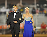 Junior maid Rae Drewrey (right) with escort Tyler Hunter at Lafayette High vs. Tunica Rosa Fort in Oxford, Miss. on Friday, October 5, 2012. Lafayette High won 35-6.