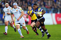 Semesa Rokoduguni of Bath Rugby takes on the Exeter Chiefs defence. Aviva Premiership match, between Bath Rugby and Exeter Chiefs on December 31, 2016 at the Recreation Ground in Bath, England. Photo by: Patrick Khachfe / Onside Images