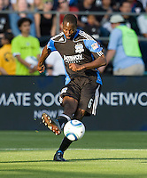 Ike Opara of Earthquakes in action during the game against Real Salt Lake at Buck Shaw Stadium in Santa Clara, California on March 27th, 2010.   Real Salt Lake defeated San Jose Earthquakes, 3-0.