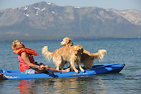 Laura Asbill enjoys kayaking with her golden retrievers while attending Camp Winnaribbun at Lake Tahoe.