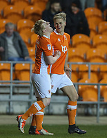 Blackpool's Mark Cullen celebrates scoring his sides first goal with teammate Brad Potts<br /> <br /> Photographer Alex Dodd/CameraSport<br /> <br /> The EFL Sky Bet League Two - Blackpool v Stevenage - Tuesday 14th March 2017 - Bloomfield Road - Blackpool<br /> <br /> World Copyright &copy; 2017 CameraSport. All rights reserved. 43 Linden Ave. Countesthorpe. Leicester. England. LE8 5PG - Tel: +44 (0) 116 277 4147 - admin@camerasport.com - www.camerasport.com